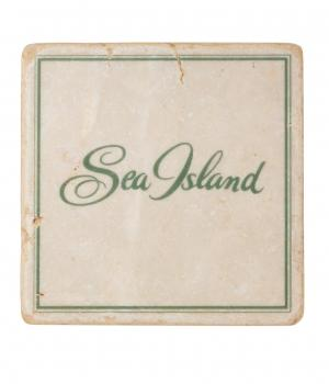 Sea Island Marble Coaster Set with Iron Base.